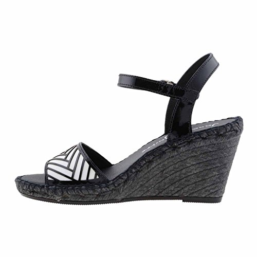 sandales compensées en cuir verni Noir