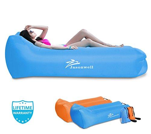 Jasonwell sdraio gonfiabile aria divano sdraio gonfiabile da giardino spiaggia mare portatile impermeabile amaca divano letto lettino per piscina galleggiante viaggiare musica birra feste parco campeggio (blu)