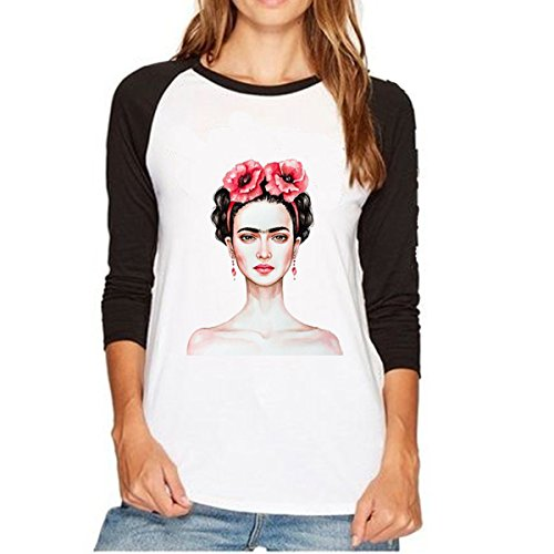 Camiseta Casual de Manga Larga para Mujer con Cuello Redondo Raglan de Frida Kahlo (Color : Gray, Size : S)