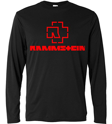 T-shirt a manica lunga Uomo - Rammstein - red print - Long Sleeve 100% cotone LaMAGLIERIA, M, Nero