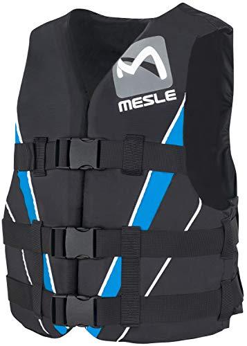 MESLE Schwimmweste V210, XS-XL, blau-schwarz, 50-N Auftriebsweste Prallschutz Schwimmhilfe, für Erwachsene und Jugendliche, Wasserski Wakeboard Impact-Vest, Nylon, Boot Jet-Ski Yacht, Größen:L
