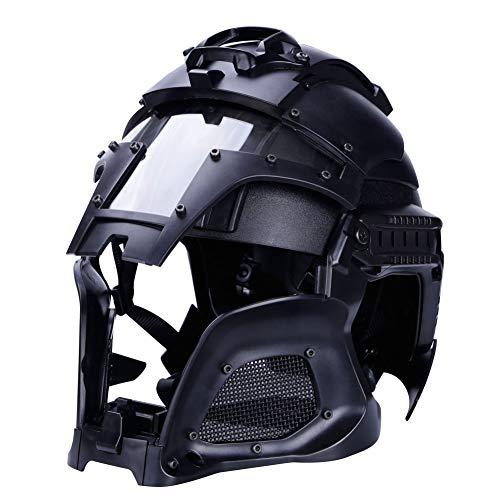Noga Taktischer militärischer ballistischer Helm-Seitenschienen-Armeekampf-Airsoft-Paintball-Vollgesichtsmasken-Helm (bk) -