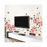 ylckady Big Size Peony Flower Wall Stickers Bedroom TV Sofa Wall Art Decal Decoration Romantic Flowers Home Decors Wall Poster 190 * 90cm