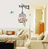 #8: UberLyfe Rose Birdcage Wall Sticker (Wall Covering Area: 85cm x 55cm) - WS-001375