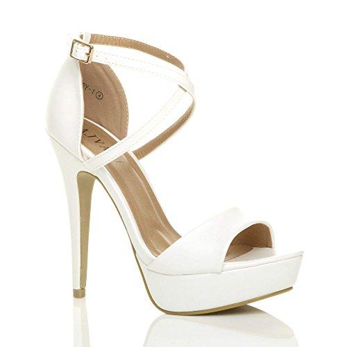 Ajvani donna tacco alto fibbia cinturini incrociati scarpe punta aperta sandali numero 3 36