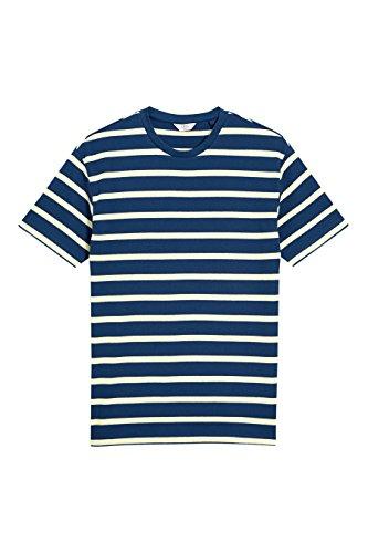 next Herren Gestreift T Shirt Baumwolle Rundhals Kurzarm Normale Passform Top Marienblau/Gelb