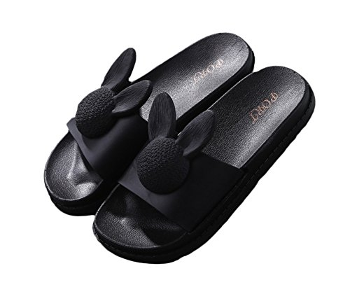 confortables Auspicious Noir beginning femme pour Flat Rabbit Sandales Slippers Sweet wYHzPqYx