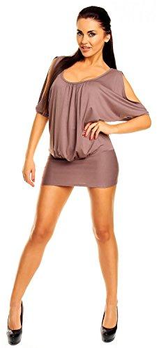 Zeta Ville - Top T-shirt Tunique de club - dégageant les épaules - Femme - 221z Cappuccino