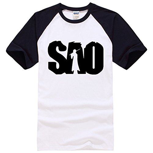 Men's SAO Letters Printed Cotton Short Sleeve Tee Shirt Black White