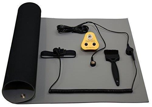 NOSHOCK Antistatische ESD Erdung Schleifer Matten Set, 1200 x 500mm, Blau oder Grau - grau Coiled-pc-kabel
