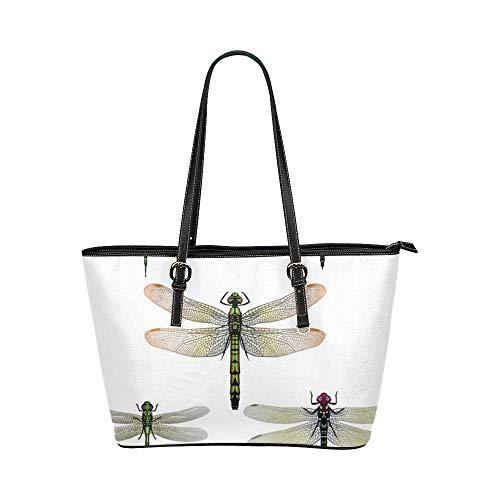 Gemalte Libelle Fliegen Insekt Große Weiche Leder Tragbare Top Hand Totes Taschen Kausale Handtaschen Mit Reißverschluss Schulter Shopping Geldbörse Gepäck Organizer Für die Arbeit Von Lady ()