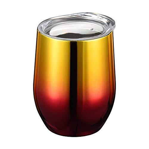 Jaminy Doppel-Isolierte Stemless Weinglas, Edelstahl Becher mit Deckel für Wein Wasser Kaffee Getränke Champagner Cocktail - 9oz (B)