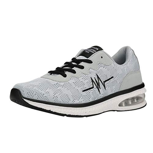CUTUDE Turnschuhe Herren Atmungsaktiv rutschfeste Modischer Sneaker Fitness Sportschuhe (Grau, 45 EU)