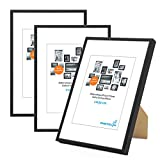PHOTOLINI 3er Set Alu-Bilderrahmen 21x30 cm/Din A4 Modern Schwarz Aluminium-Rahmen mit Acrylglas