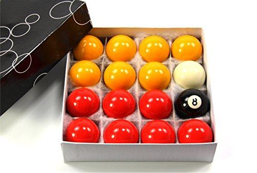 Set aus Pool- / Billard-Kugeln, Rot und Gelb, je 48mm Durchmesser,16Kugeln