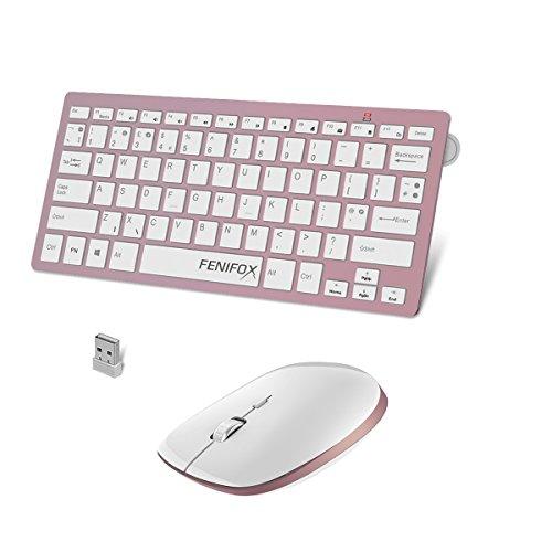 FENIFOX Tastatur Maus Set Kabellos, Layout Amerikanisch QWERTY Keyboard Mouse mit Leiser Taste Kompatibel Computer/Laptop/Tablet, Kleine Größe Passend Geschäftsreise/Haus/Publikum-Rosegold