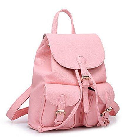 Hippolo Schulrucksack Schulranzen Einfarbig Schultasche Rucksack Freizeitrucksack Daypacks Backpack Mädchen Damen Rosa
