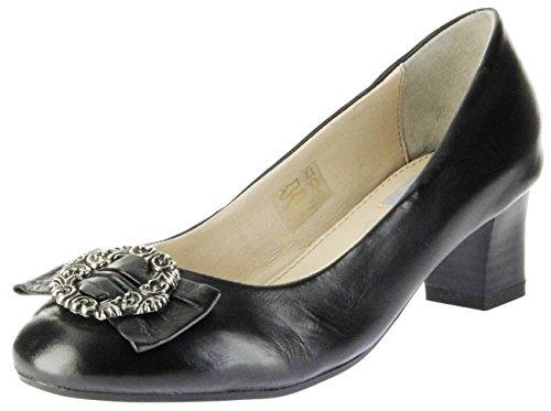 Bergheimer Trachtenschuhe Trachten Pumps Schwarz Glattleder Damen Schuhe Luise, Größe:39, Farbe:Schwarz