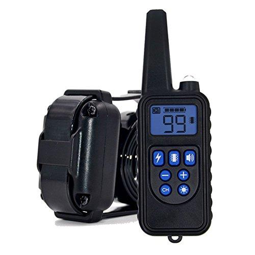 Wiederaufladbar Hunde Training Halsband,800M LCD Elektrohaustierschockhalsband mit Ton und Vibration, Wasserdicht, Garantie (A) (Stromschlag Hund)