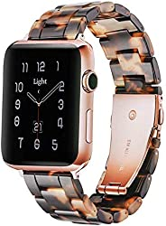 Light Apple Watch Band - Fashion Resin iWatch Band Bracelet Compatible with Copper Stainless Steel Buckle for