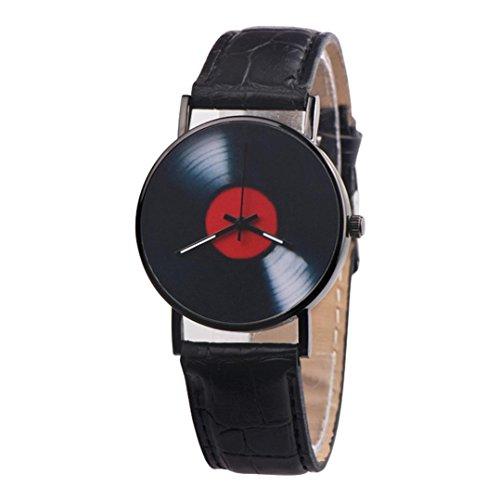 Sonnena Unisex Armbanduhren, Mode Casual Lederband Armbanduhren Klassik Retro Herrenuhr Damenuhr Design Band Uhren Edelstahl Analoge Quarz Handgelenk Uhr (Schwarz)
