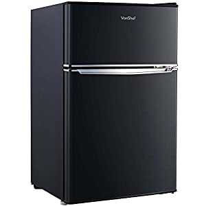 VonShef 85L Freestanding Under Counter Fridge Freezer With Reversible Door, Adjustable Temperature Control and Internal Light - H83cm W48cm - Black [Energy Class A+]