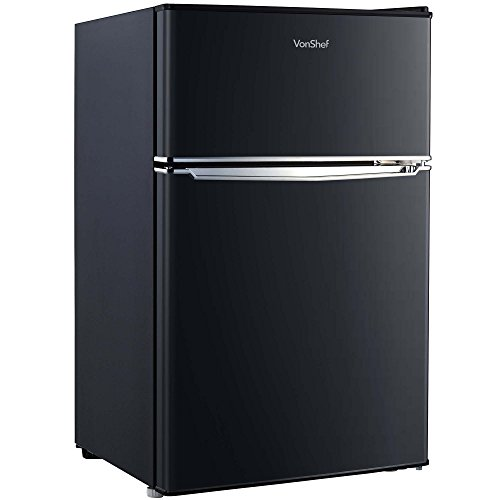 41QQeqHUN9L. SS500  - VonShef 85L Freestanding Under Counter Fridge Freezer With Reversible Door, Adjustable Temperature C