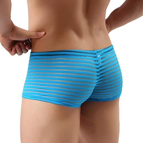 Transparent Convex Light (AchidistviQ Men U Convex Bulge Pouch Boxer Durchschauen Sexy Slip Unterwäsche Unterhosen Blue XL)
