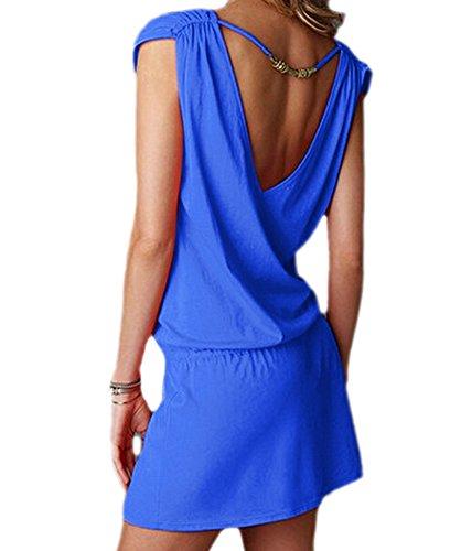 DELEY Femmes col V profond Swim Beach Dress dos ouvert Plage Cover Up Bleu royal