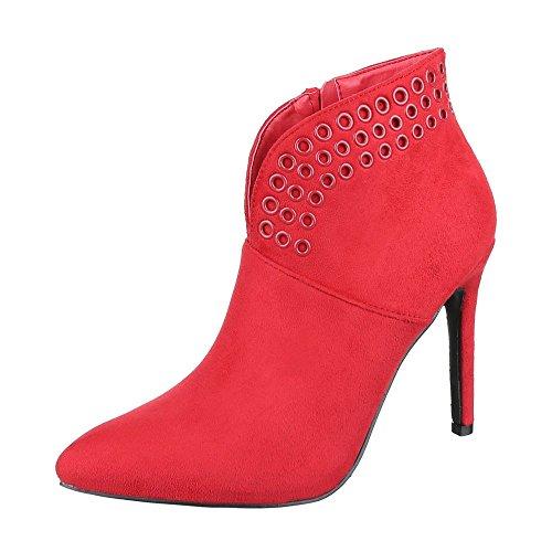 High Heel Stiefeletten Damenschuhe Schlupfstiefel Pfennig-/Stilettoabsatz High Heels Reißverschluss Ital-Design Stiefeletten Rot