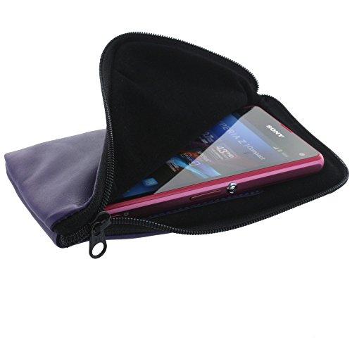 XiRRiX Universal Leder Handytasche - Reißverschluss Hülle - Größe XL - für z.B. Huawei Y3 Y5 - Samsung Galaxy S4 Mini etc - violett