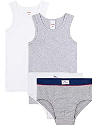 s.Oliver - Juego de ropa interior para niño (4 piezas), color blanco y gris