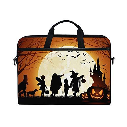EZIOLY Halloween-Kürbis-Vollmond-Laptoptasche für 14 Zoll bis 15,4 Zoll -