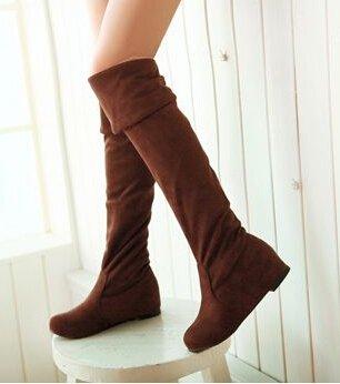 Frauen Stiefel 2014 Herbst-Winter-Damenmode Flachboden Stiefel Schuhe Overknee Overknee-Stiefel aus Wildleder Lang Braun