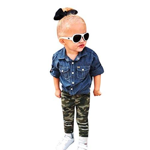 1-5 Jahr Kleinkind Kinder Kleidung Set, DoraMe Baby Jungen Mädchen Langärmeliges Jeanshemd + Camouflage Hosen Unisex 2pcs Outfits (Blau, 4 Jahr) (Kinder Hilfiger Kleidung Tommy)