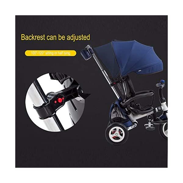 GSDZSY - 3 IN 1 Children Tricycle Foldable,With detachable push rod and awning, Rain and UV protection ,Push rod can control steering, 1-6 years old GSDZSY ❀ Material: High carbon steel + ABS + rubber wheel, suitable for children from 6 months to 6 years old, maximum load 30 kg ❀ Features: The push rod can adjust the height and control direction, the seat can rotate 360; the baby can lie flat, adjustable umbrella, suitable for different weather conditions ❀ Performance: high carbon steel frame, strong and strong bearing capacity; non-inflatable rubber wheel, suitable for all kinds of road conditions, good shock absorption, seat with breathable fabric, baby ride more comfortable 3