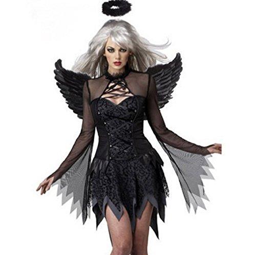 Travelday Womens Engel-Kostüm-Kleid (Flügel Und Halo Engel Erwachsene)