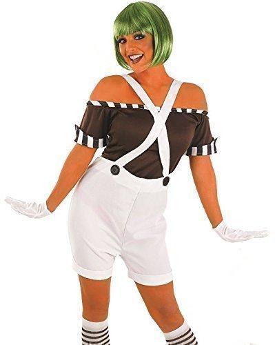 Damen 5 Stück Sexy Oompa Loompa Latzhose mit Wig Buch Woche Halloween Kostüm Kleid Outfit UK 8-26 Übergröße - Weiß, Weiß, (Loompa Oompa Erwachsene Kostüme)