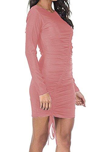 YACUN Donne Le Mini Matita Bodycon Plissettata Manica Lunga Vestito Da Cocktail Pink