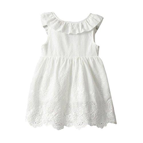 Longra Tout-petits Petites Filles Vêtements Princess Party Big Bow Sans Manches Robe Fille O-Collier (8, Blanc)