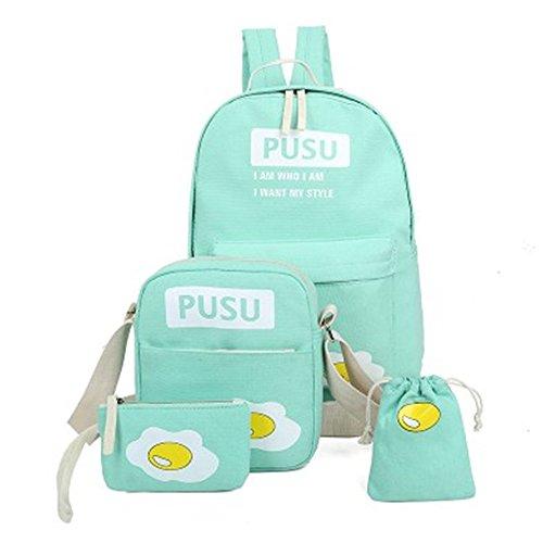 Minetom 4 Pezzi Clutch Bag Messenger Piccole Tasche Tela Borsa Zainetto Donna Spalla Zaini Scuola Superiore Zainetti Ragazze Uovo Verde