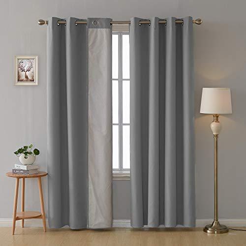 Deconovo 2er Set Vorhang mit Ösen für Wohnzimmer Oxford Thermovorhang Gardinen 229x117 cm Hellgrau - Wohnzimmer-sets Vorhänge Für