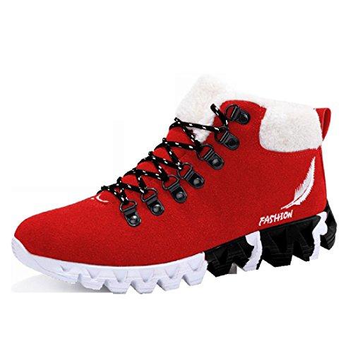Hommes Hiver Mode Non-slip Sports Chaussures Garder Au Chaud Formateurs Plus Cachemire Augmenté Fond Épais Euro Taille 39-44 Rouge