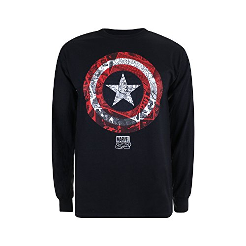 Marvel Herren Langarmshirt CA Comic Shield Schwarz