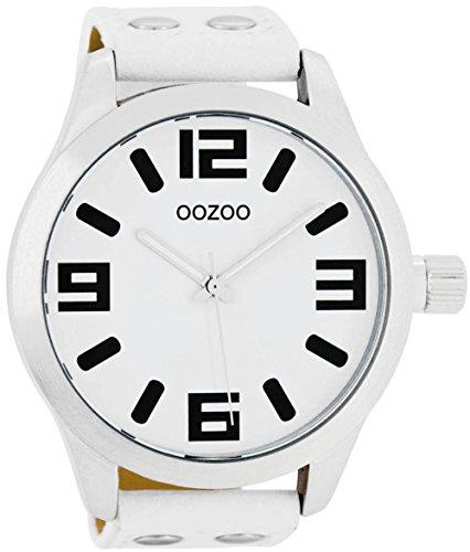 Oozoo Herrenuhr mit Lederband 51 MM Weiss/Weiss C1000