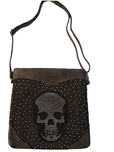 Handtasche Umhängetasche mit Strass Totenkopf Schultertasche Damen Tasche Skull