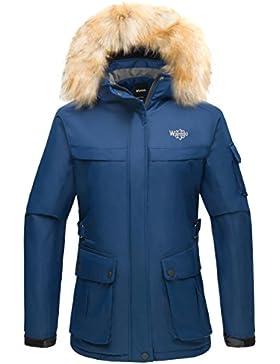 Wantdo Mujer Chaqueta De Esquí A Prueba De Viento Capa Polar Con Capucha De Piel Desmontable