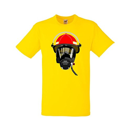 T-Shirt VERSCHNAUFPAUSE- Verteidigung- Feuerwehrmann- Helm- Inhalator- Maske- Beatmungsgerät in Gelb für Herren- Damen- Kinder- 104-5XL (Inhalatoren 5)