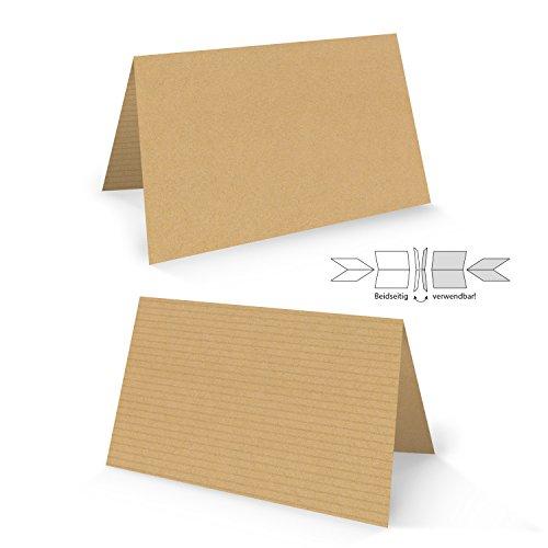 100 Stück hell-braune natur Kraftpapier Optik neutrale Blanko-Karten Tischkarten Kärtchen Namensschilder Kärtchen Schilder Tisch-Aufsteller zum Hinstellen - beidseitig verwendbar!