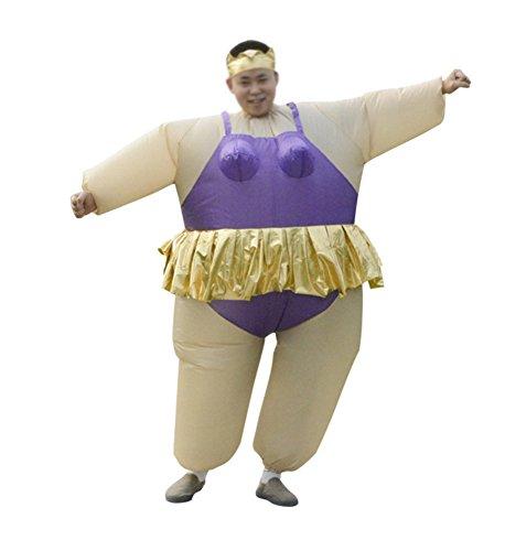 Aufblasbares Kostüm Fatsuit Ballerina Für Herren Fasching Karneval Violett